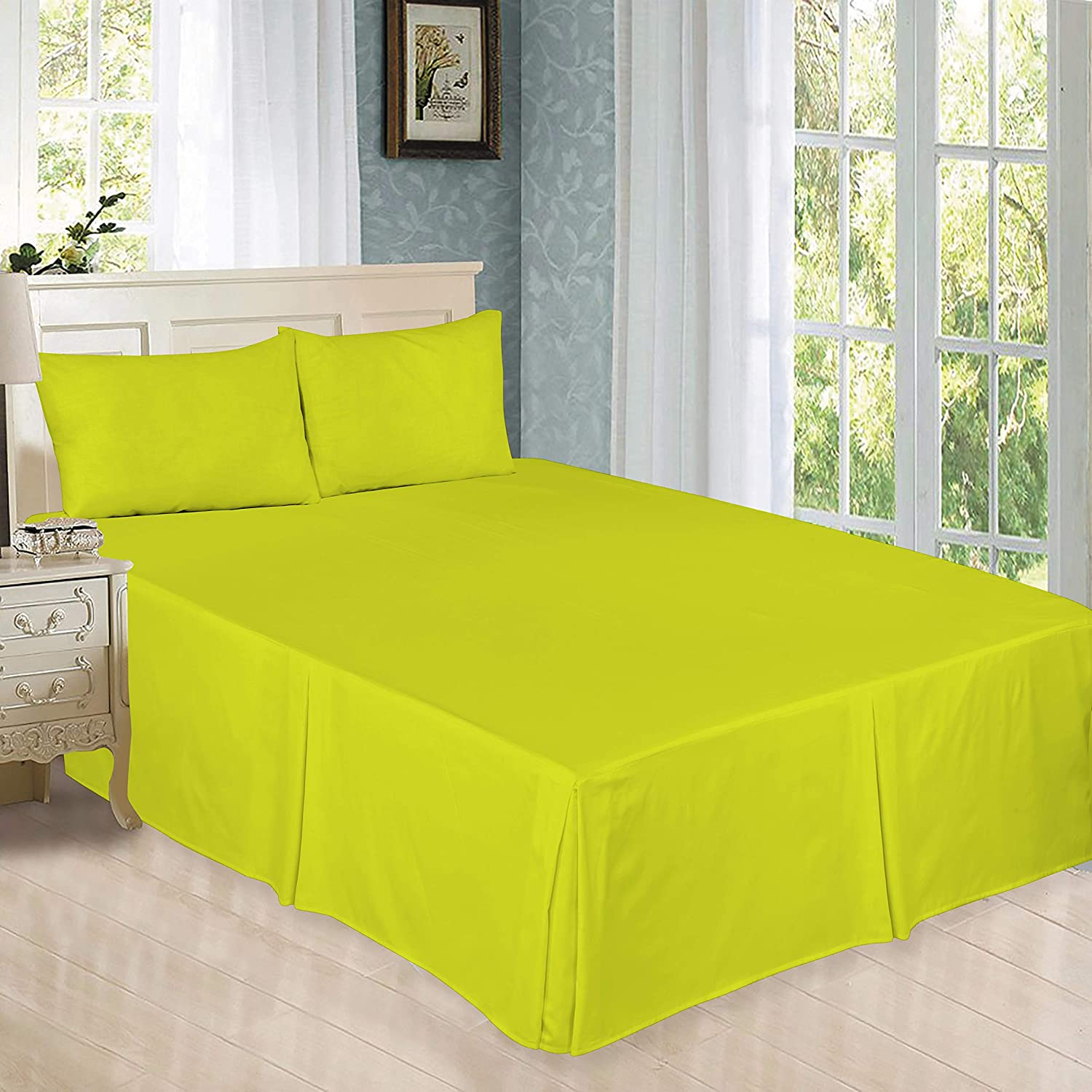 ARLINENS Luxury Plain Dyed Poly Cotton Platform Base Valance Sheet in Following Colours and Sizes (DOUBLE, BLACK)