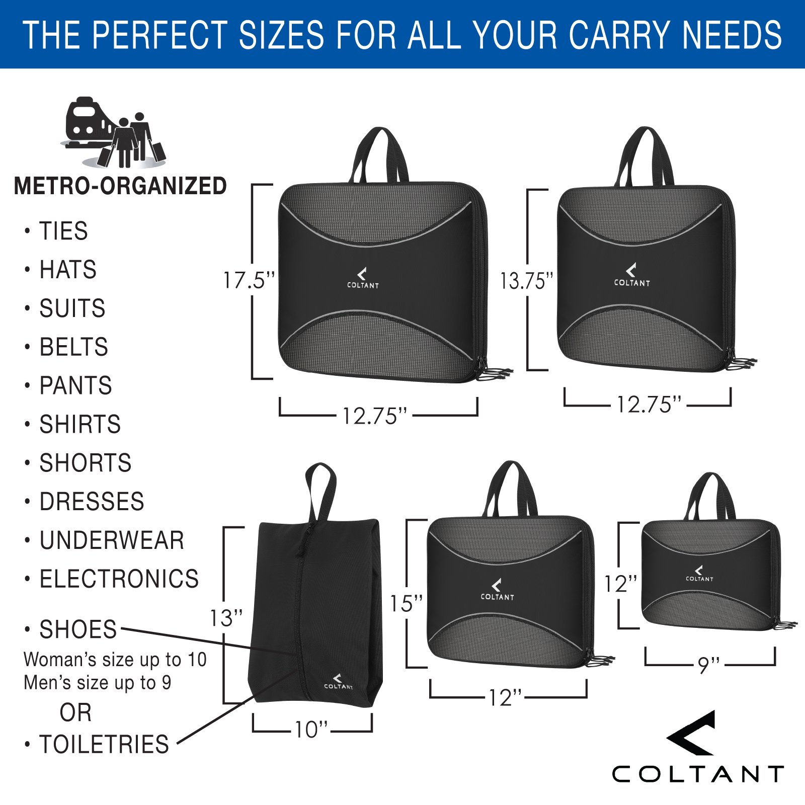 4 Set Compression Packing Cubes + Free Shoe Bag for Travel and luggage organizer by Coltant (Image #3)