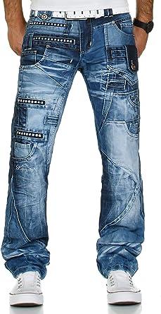 Kosmo Lupo K&M 001 Designer Herren Jeans Hose Clubwear Style Blau Verwaschen Multi Pocket W29 W38 L32 L34