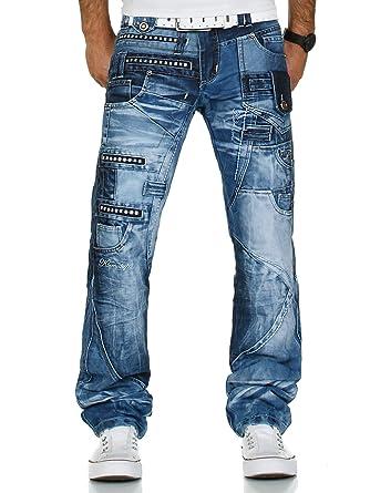 Discounter gutes Geschäft online zum Verkauf Kosmo Lupo K&M 001 Designer Herren Jeans Hose Clubwear Style Blau  Verwaschen Multi Pocket W29-W38 / L32-L34