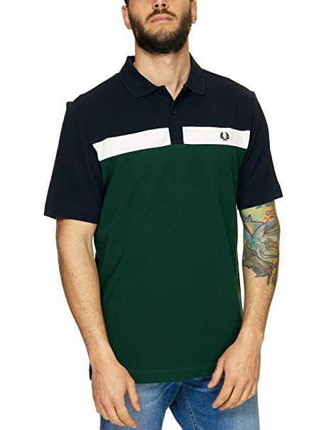 Fred Perry Contraste Panel Piqué Polo Camisa Hiedra: Amazon.es ...