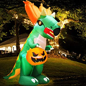 TURNMEON 9Ft Halloween Inflatables Dinosaur Decor Triceratop Holding Ghost Pumpkin Jack O' Lantern LED Lights Air Blow up Halloween Decorations Outdoor Indoor Yard Lawn Home Party with Tethers Stakes