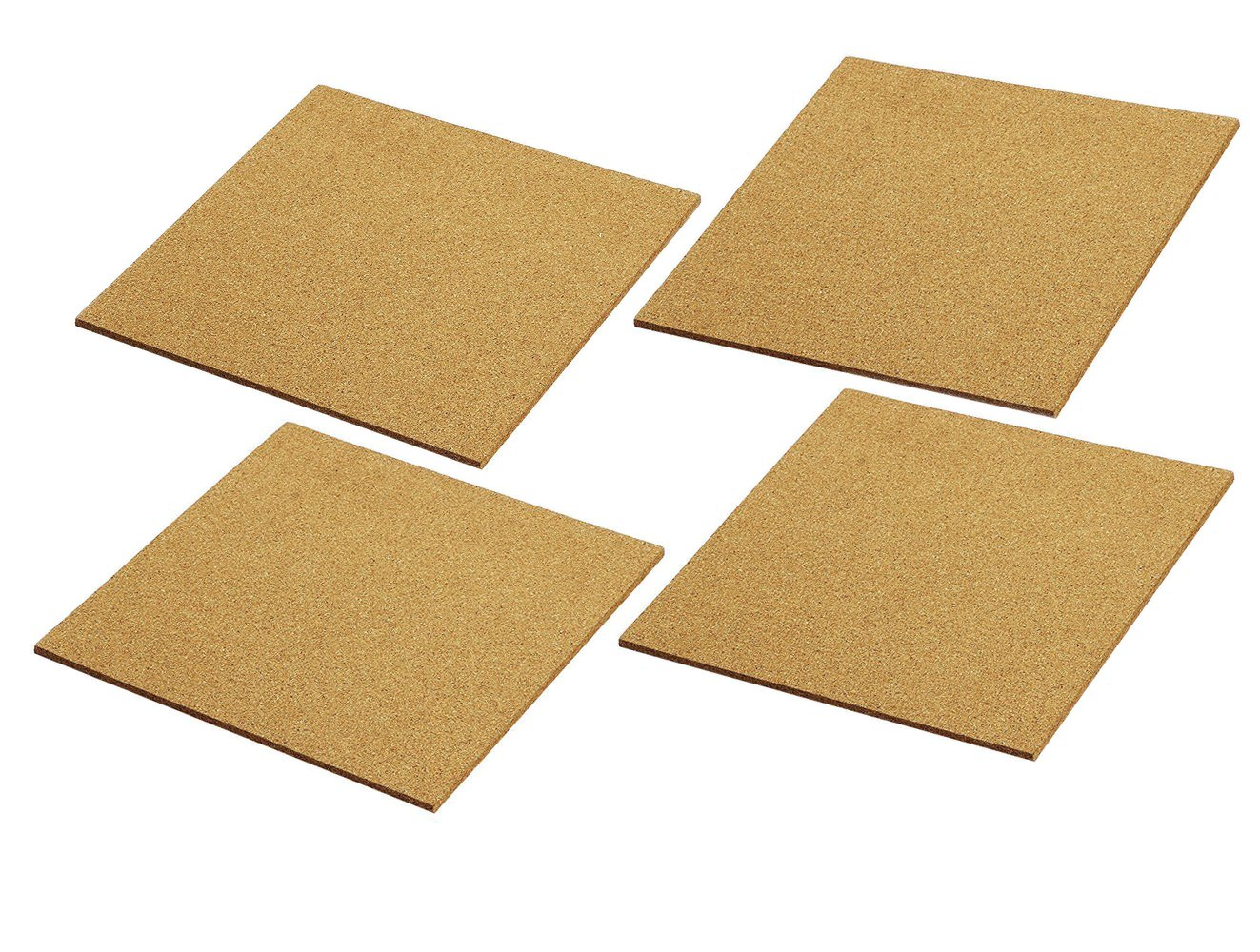 Juvale Cork Tile Boards -Frameless - Mini Wall Bulletin Boards - Natural - 4 Pack - 12 x 12 inches OP-31649