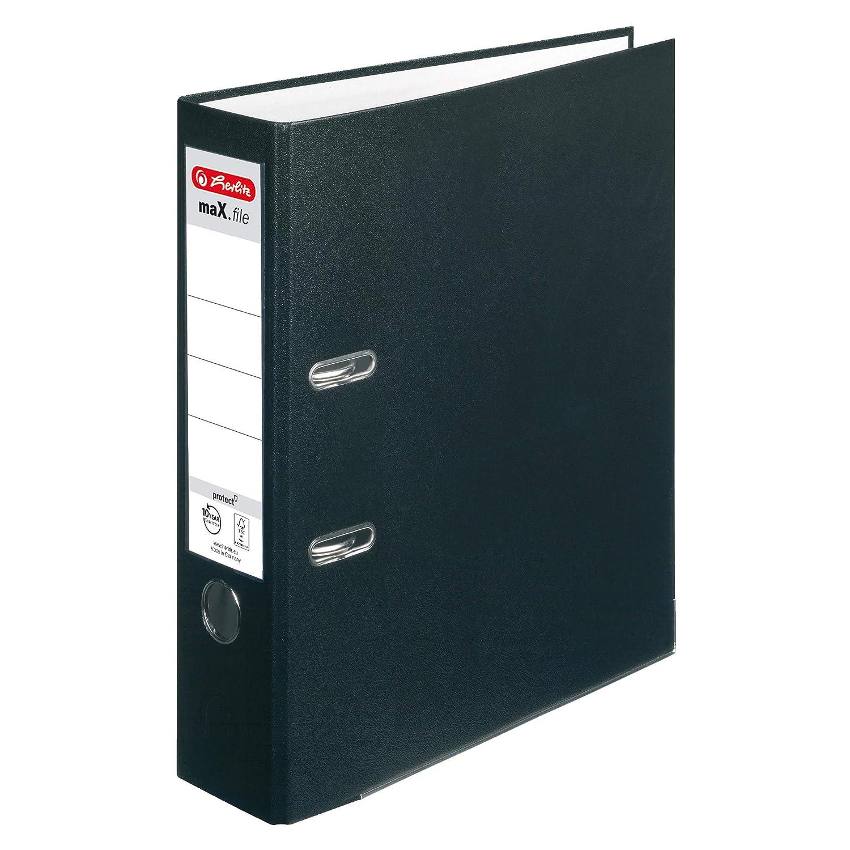 Herlitz 9942657 Ordner maX.file protect A4 8cm rot 5er Packung PP-Kunststoffbezug//Papier hellgr.besch