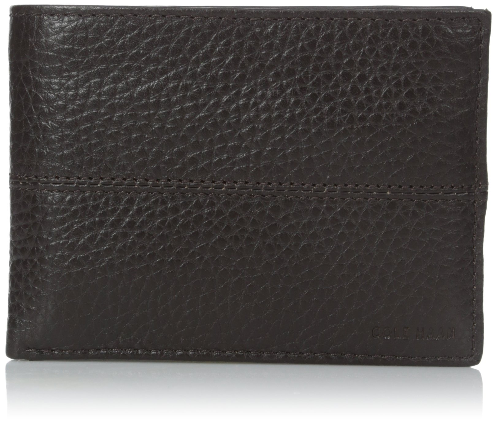 $98 Mens Cole Haan Leather Billfold Wallet ID Card Case Chocolate ...