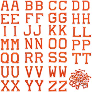 52 Pieces Iron on Letter Patches, Alphabet Applique Patches or Sew on Appliques with Embroidered Patch A-Z Letter Badge Decorate Repair Patches for Hats, Shirts, Shoes, Jeans, Bags (Orange, 52 Pieces)