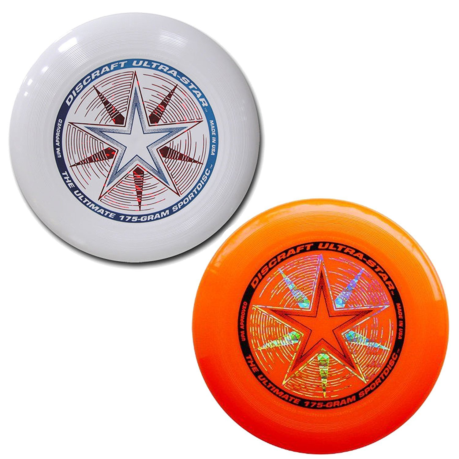 Discraft 175 gram Ultra Star Sport Disc - 2 Pack (White & Orange) by Discraft