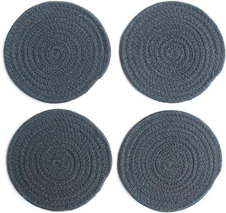 Compra xiaoshenlu Mantel Individual - Tapetes Resistentes al Calor Antideslizantes para Mesa de Comedor - Juego de 4, Redondo, Diámetro 30 cm, Gris Oscuro en Amazon.es