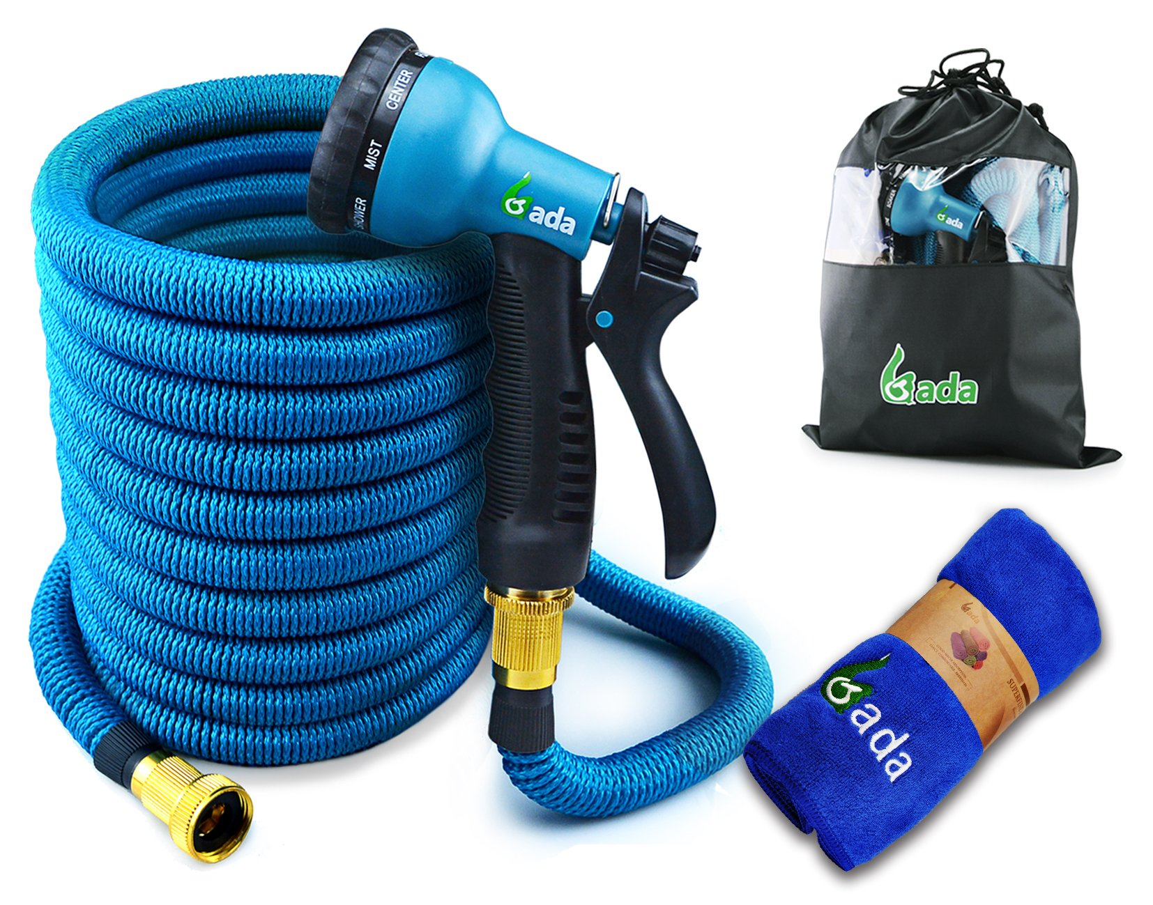 Gada Garden Hose -Expandable Water Hoses Set 8-Way Spray Nozzle - STRONG Lightweight Coil Flex, Collapsible Flexible Expanding Three LAYER Latex in Pocket (50ft)