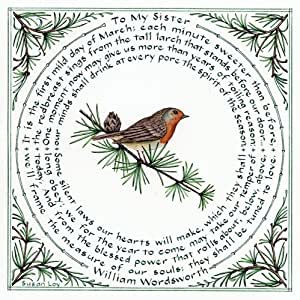"""Literary Calligraphy """"to My Sister"""" Art Print of William Wordsworth Poem by Susan Loy"""