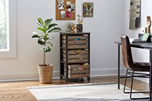 Martin Furniture Sullivan Rustic Storage Chest with Removable Wood, Accent Cabinet, Bookcase, Crate Style Drawers, Brown, 3