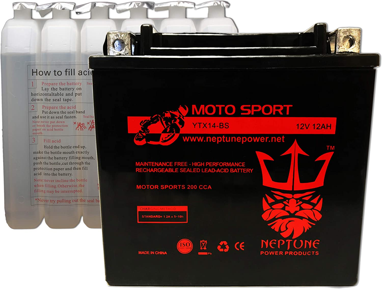 12V 2Amp Charge Mighty Max YTX14-BS 12V 12AH Battery for HONDA TRX 500 Rubicon