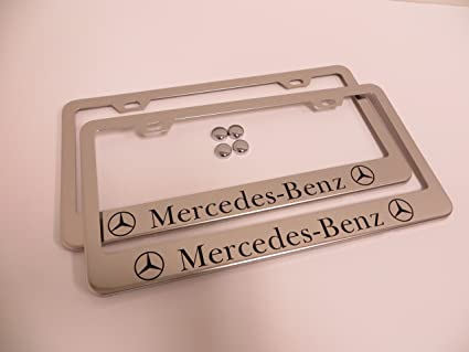 Amazon.com: 2 Pieces Mercedes-Benz Stainless Steel Chrome License ...