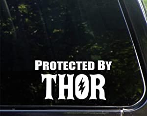 """Protected By Thor (7"""" x 4"""") Funny Die Cut Decal Bumper Sticker For Windows, Cars, Trucks, Laptops, Etc"""