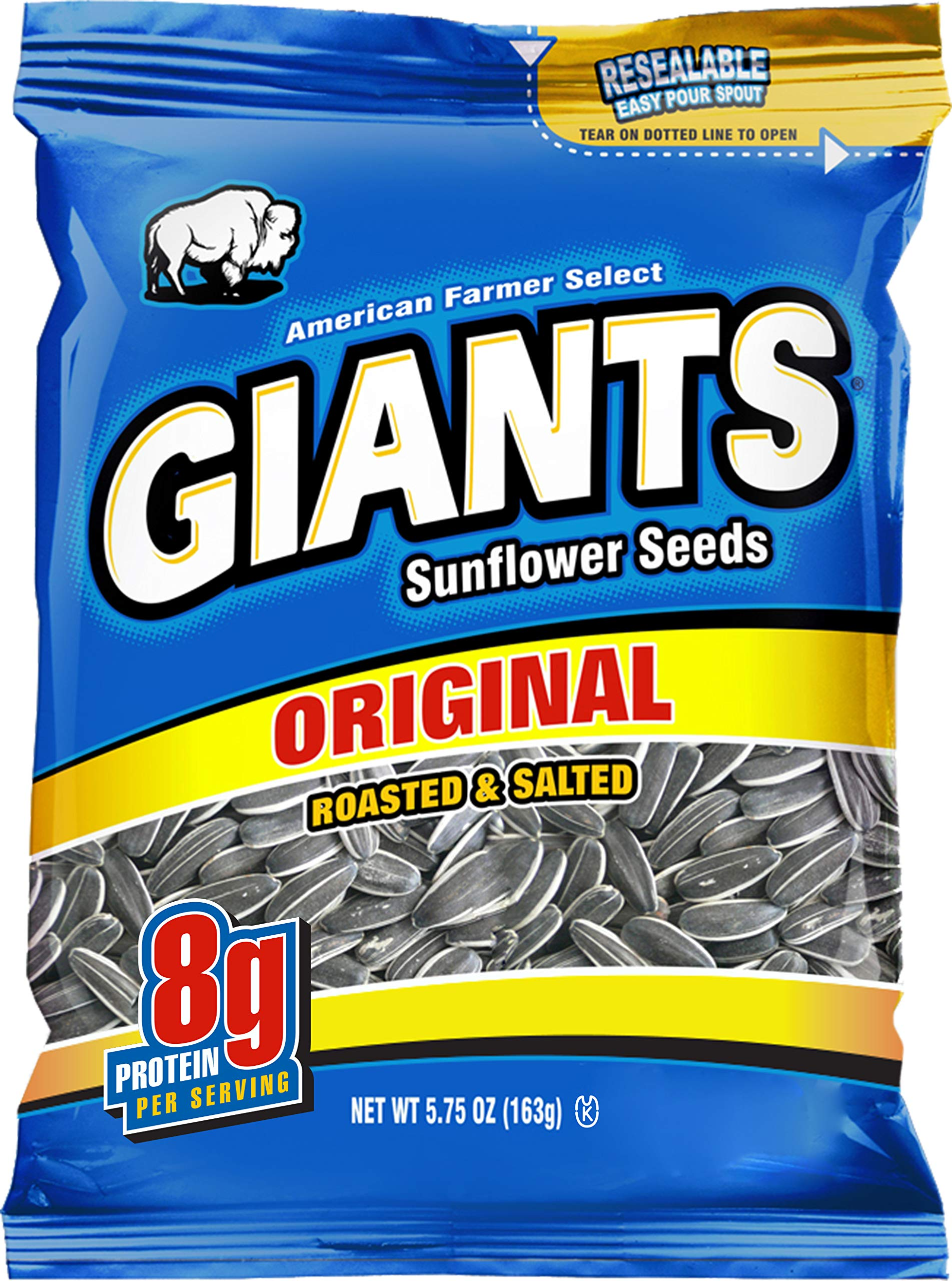 GIANTS Original Salted Sunflower Seeds 5.75-Ounce Bags (Pack of 12) by GIANTS