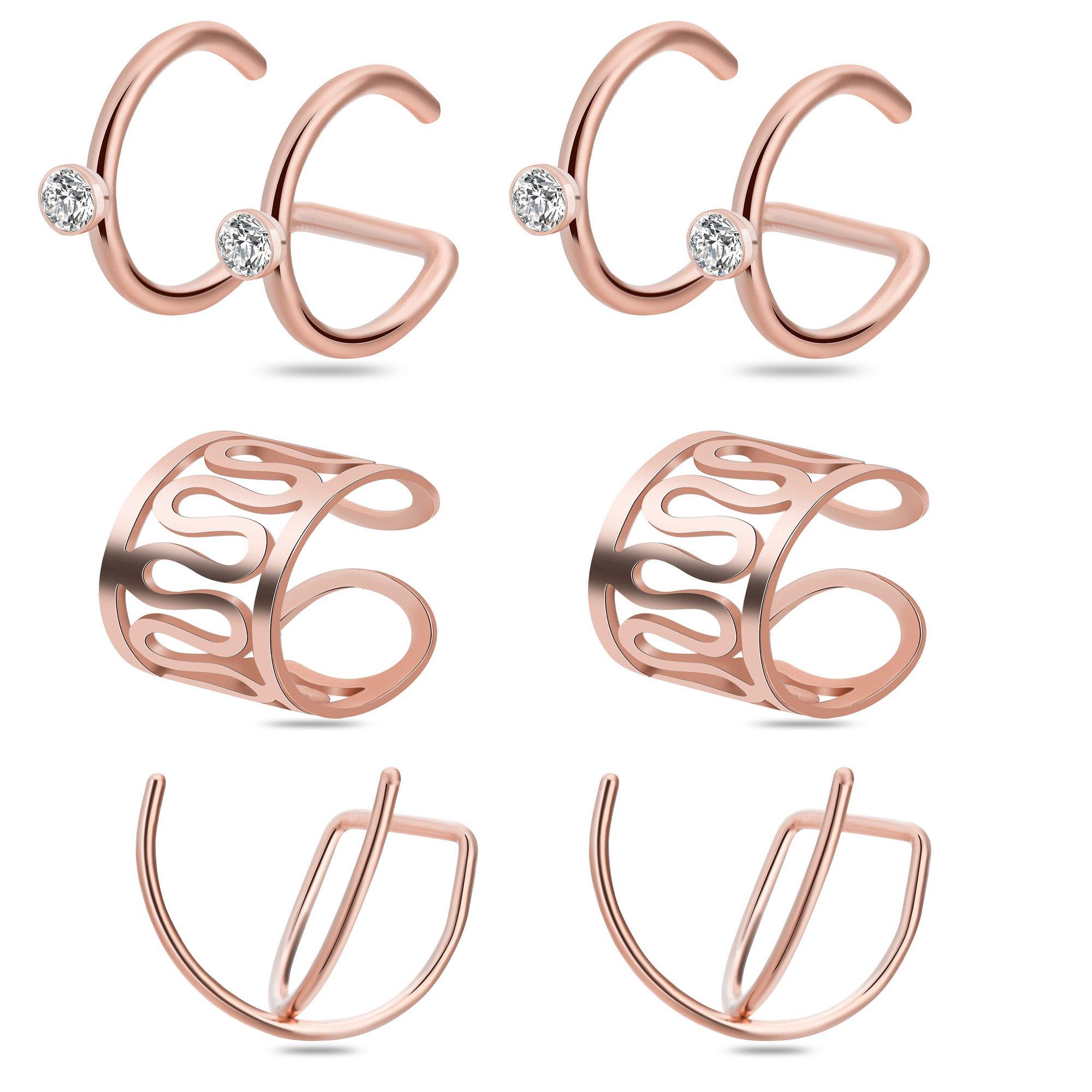 Ear Cuff,Valloey 3 Pairs Stainless Steel Zircon Cartilage Helix Hoop Non Piercing Earring Ear Clips