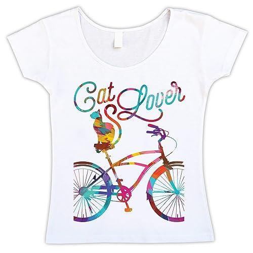 Camiseta Blanca Entallada para Mujer con Gato y Bicicleta, Cat Lover, Amante de Gato