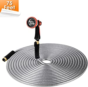 FIXKIT 304 Stainless Steel 75ft Garden Hose, Flexible Premium Water Hose with Upgraded 10 Spray Patterns Nozzle and Solid Brass Fitting, Anti Kink,Durable,Ergonomic Slip Resistant Comfort Grip