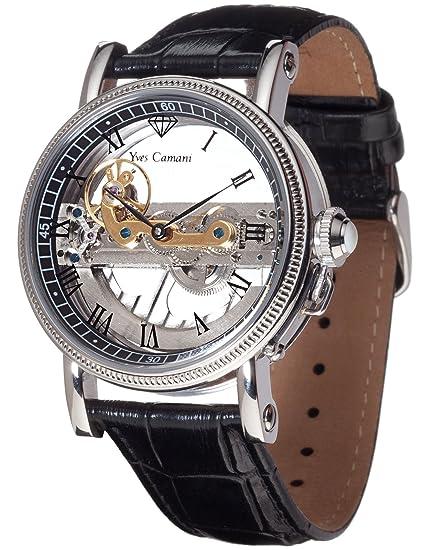 Yves Camani GRIMAUD Automatik Skeleton YC1032-D YC1032-D - Reloj analógico automático para hombre, correa de cuero color negro: Amazon.es: Relojes
