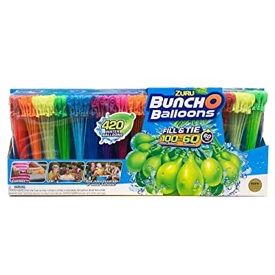 ZURU Bunch O Balloons, 420 Water Balloons, Fill & Tie 100 in 60 Seconds,: Toys & Games