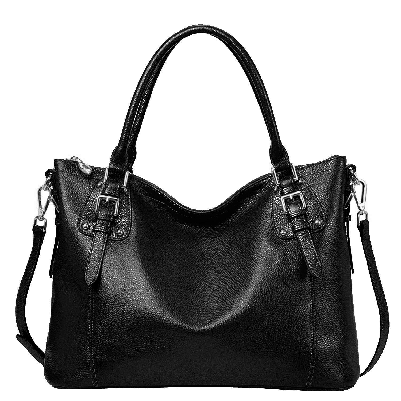 S-ZONE Women's Vintage Genuine Leather Tote Large Shoulder Bag with Outside Pocket (Large-Black)