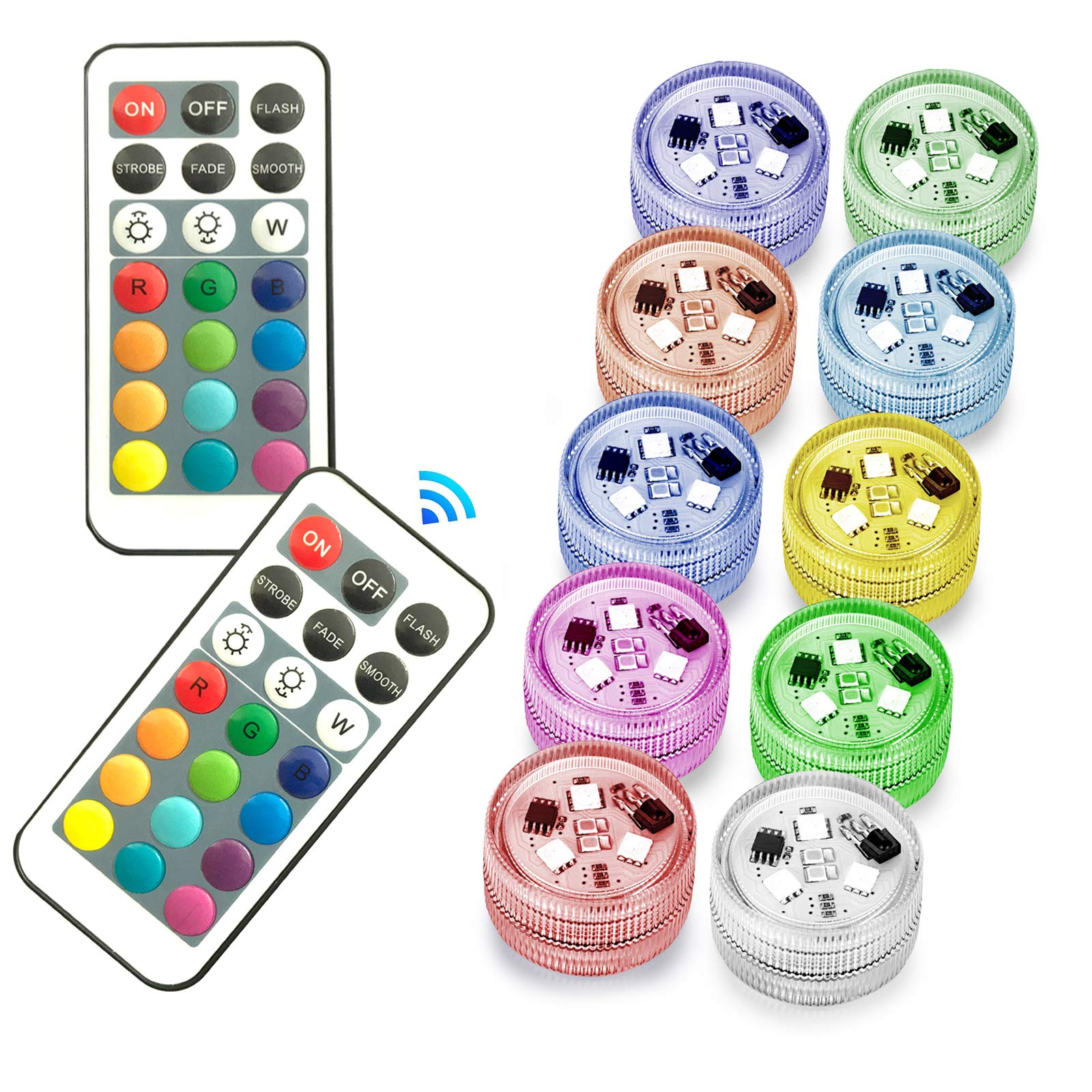 Melon Boy Submersible Led Lights,Underwater Waterproof Bath Lights with Remote Control for Hot Tub,Vase Base,Pond,Pool,Aquarium,Party,Fish Tank,Home Decorations Mood Lights 10pcs by Melon Boy (Image #1)