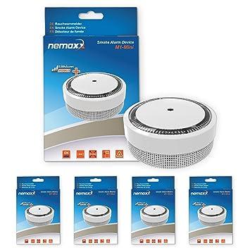 4X Nemaxx Detector de Humo M1-Mini sensibilidad fotoeléctrica - con batería de Litio Tipo