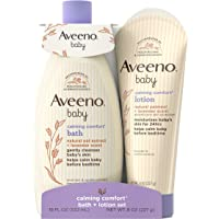 Aveeno Baby Calming Comfort Bath & Lotion Set, Baby Skin Care Products with Natural Oat Extract, Lavender & Vanilla, 2…