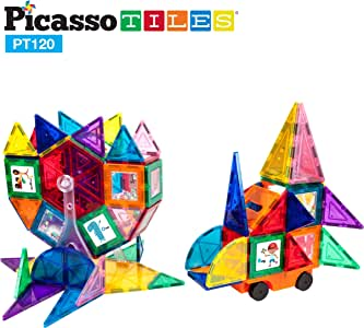 PicassoTiles 120pc Master Builder Magnetic Building Block Construction Set with Ferris Wheel, 3-in-1 Theme, Castle Click-in, 28 Educational Alphabet Animal and Number Graphic Card, Car Truck Windmill