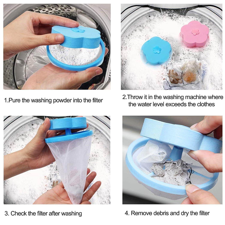 Bolsas de Filtro de Pelusa para Lavadora Bolso de Malla Flotante de Reutilizable Colector de Pelo con Forma de Flor Esponja Port/átil Atrapador de Pelusas para Lavander/ía Azul y Rosa 4 Pack