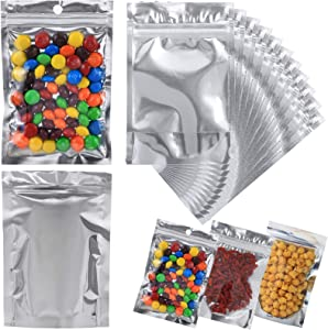 Circloophs 150-Pack Mylar Bags for Food Storage Stand Up 4 x 6 Resealable Smell Proof Aluminum Foil Bags Waterproof with Zip-lock Edible Packaging in Bulk, 150ct