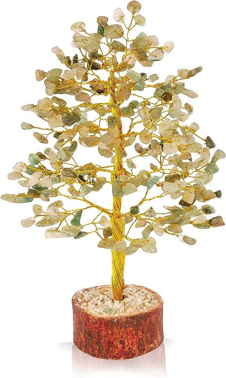 Amazon Com Pyor Green Jade Gem Tree Chakra Balancing Feng Shui Bonsai Trees Positive Energy Generator Reiki Healing Aura Statue Money Beads Life Is Good Luck Statue Home Decor Golden Wire 10 Inch