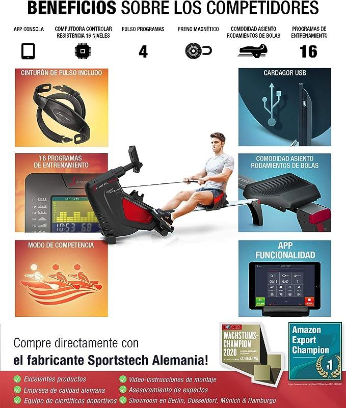 Sportstech RSX500 Máquina de Remo, Smartphone Control, App Fitness, 12 programas Remo + 4 cardíaca, 16 Niveles Resistencia, Modo competición, pulsómetro Incluido: Amazon.es: Deportes y aire libre
