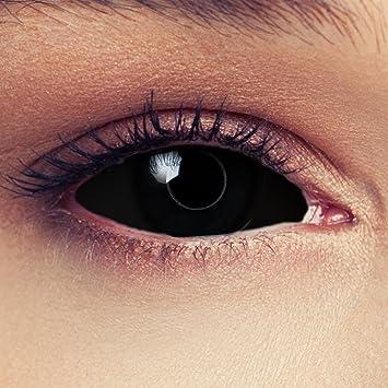 """Designlenses, Dos Sclera lentillas de color negro para Halloween 22mm Zombie lentillas de seis meses sin dioprtías/corregir + gratis caso de lente """"Black Witch"""