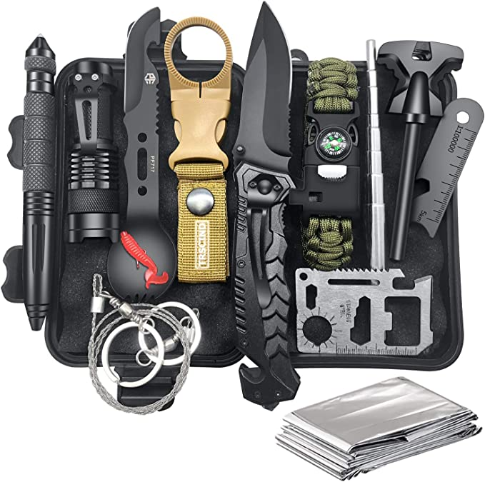 Fishing Survival Tool Gifts for Men Boyfriend Him Husband Camping Hiking Hunting Survival Kit 35 in 1 Survival Gear First Aid Kit