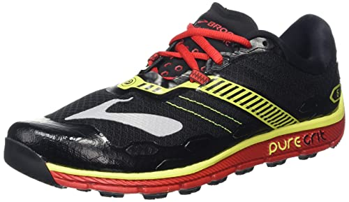 BrooksPuregrit 5 - Scarpe Running Uomo, Colore Multicolore (Black/High Risk Red/Nightlife), Taglia 40 EU (6 UK)