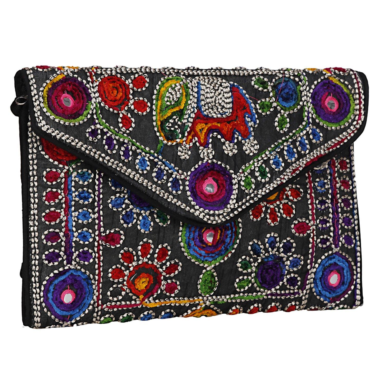 Black Women Banjara Clutch Bag in Rajasthani Style Magnetic Closure Foldover Clutch Purse