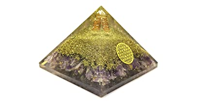 Amazon com: Amethyst Orgone Pyramid with Crystal Point