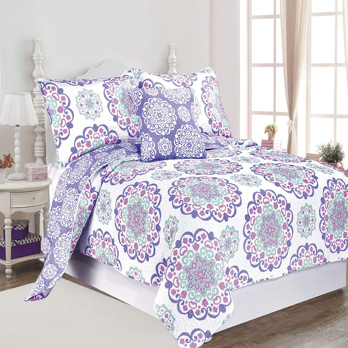 O3 DESIGN STUDIO QLTSETWDEC04-PPL Design Studio 3 Piece Vivian 3pc Cotton Quilt Set Twin, Purple