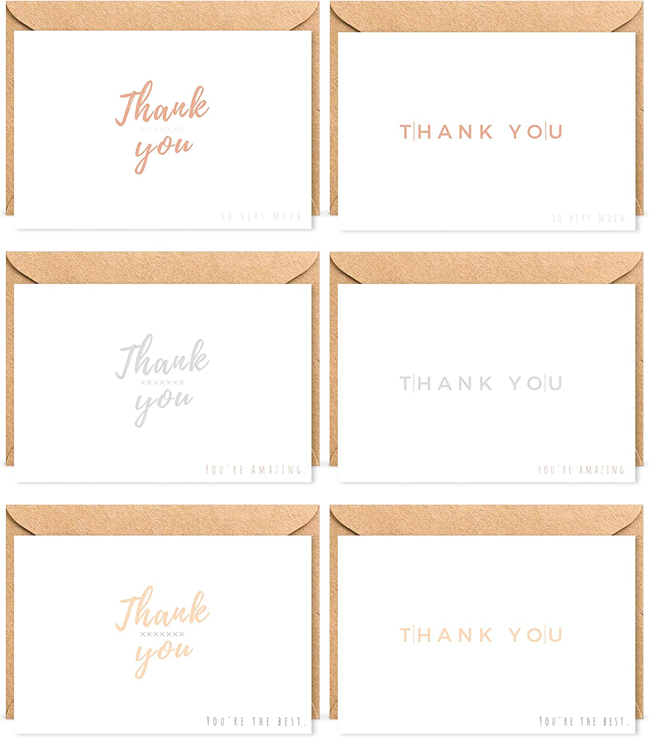 Baby /& Bridal Shower Engagement Holiday Kraft Envelopes /& Stickers Perfect for Business Minimalist Style 60 Note Cards Funeral Wedding Photo Graduation Thank You Cards by THE BOHO LIFE
