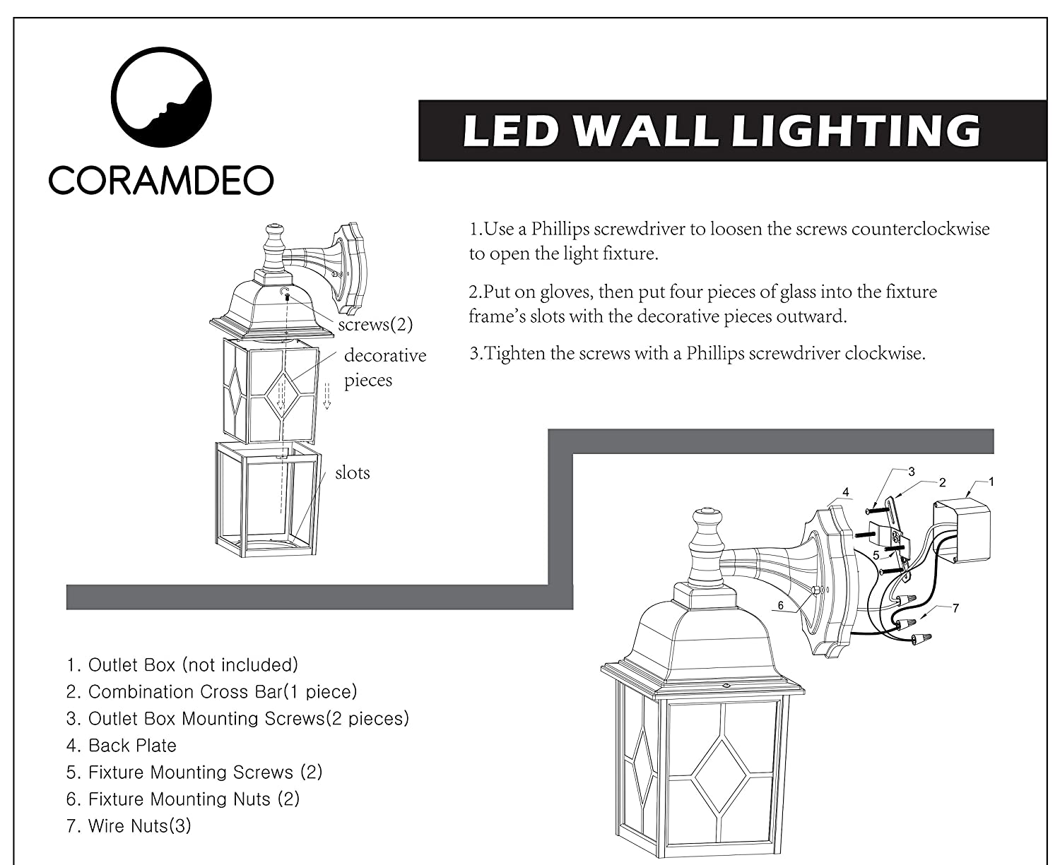 Coramdeo Outdoor Led Wall Lantern Sconce 11w Replace 100w How To Install A Light Fixture From An Outlet Traditional Lighting Fixtures 1000 Lumen Water Proof Aluminum Housing Plus Glass