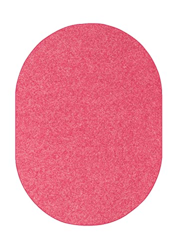 Ambiant Kids Solid Color Pink 3 x5 Oval – Area Rug