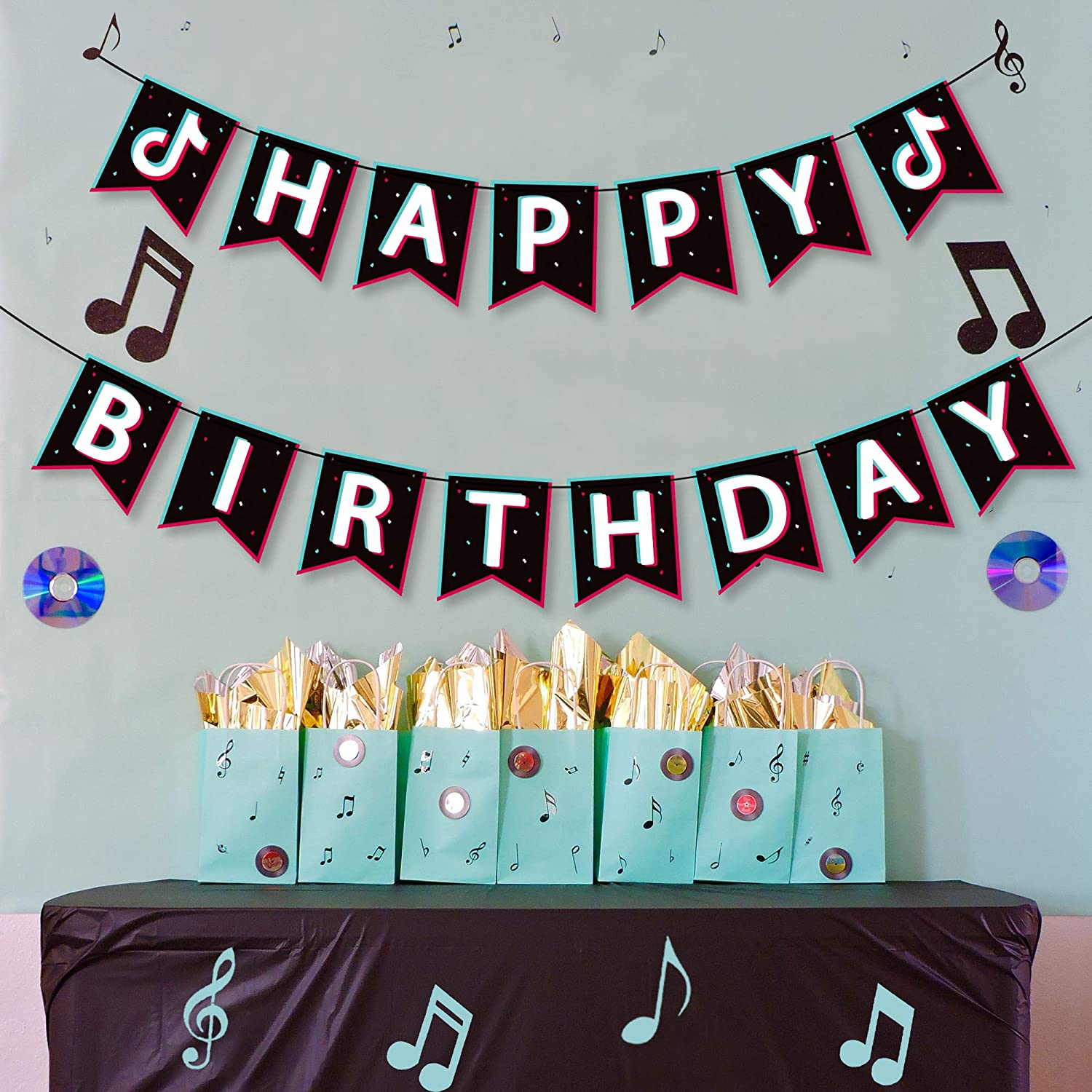 Music Note Sign Flags Decor Themed Party Decoration Shot Video Fans for Musical Party Sharing Celebration Birthday Party Supplies TIK TOK Happy Birthday Printing Banner