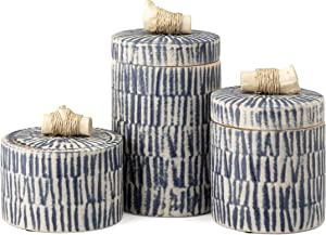 """Imax Jabal Ceramic and Wood Canisters - Set of 3, 10-7.5-5.5"""" h, Decorative Set with Natural Wood and Rope Accent, Blue and White Pattern"""