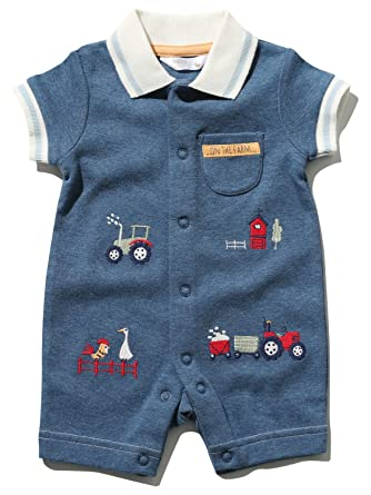 M/&Co Baby Boy Tractor Polo Shirt with Short Sleeves