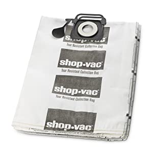 Shop-Vac 9021433 Genuine Tear Resistant Collection Filter Bags, 12-20 gallon, White