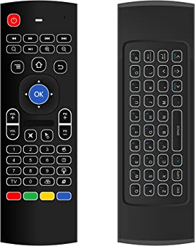Puhong Multi-función Mini 2.4G Sensor de movimiento LED retroiluminado Air Mouse Teclado inalámbrico MIC de entrada de voz IR Control remoto completo teclado IR learning para TV Box Smart TV: Amazon.es: Electrónica