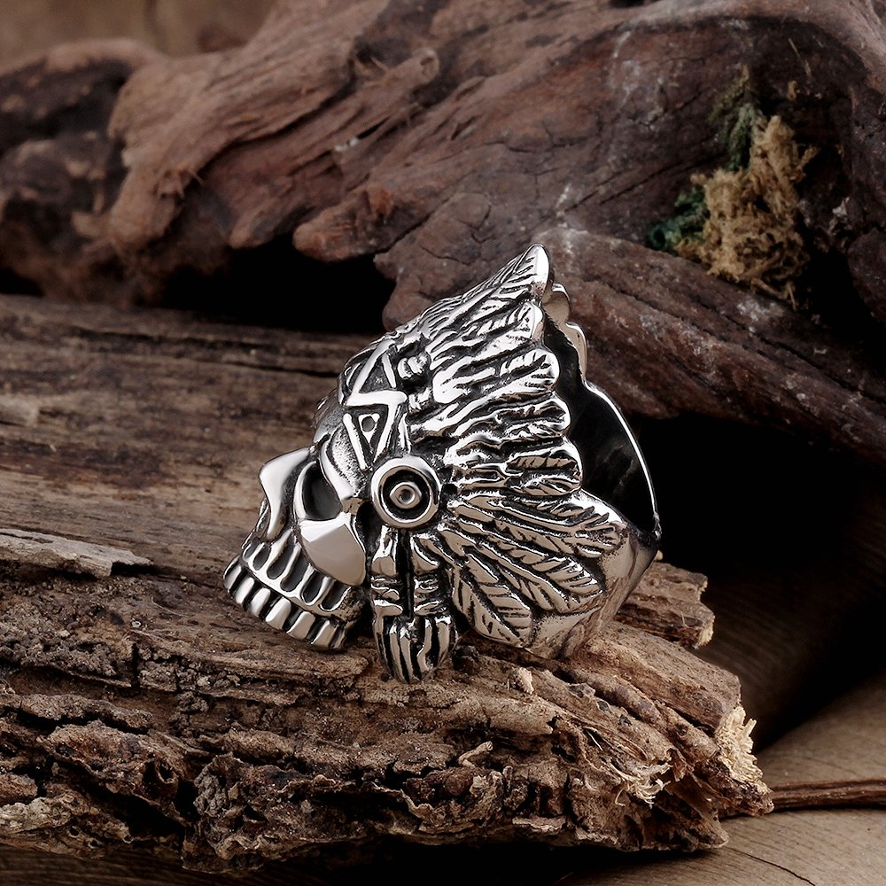 BLOOMCHARM Skull Rings for Men Boys Jewelry Punk Head Stainless Steel Bands Gifts Presents by BLOOMCHARM (Image #6)