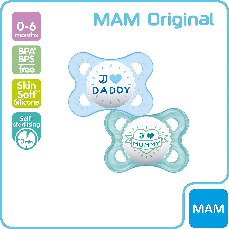 Blau MAM Style Schnuller ab der Geburt Sterilisierbarem Reisebeh/älter