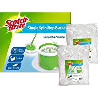 Scotch-Brite SSM VP Single Bucket Spin Mop with 2pcs Refill Value Pack